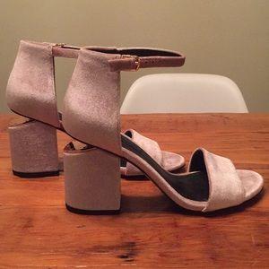Alexander Wang Abby Pink Velvet Sandal Size 36